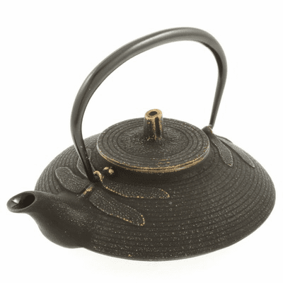 Iwachu Cast Iron Teapot, Tetsubin Gold and Black Dragonfly 16 oz.
