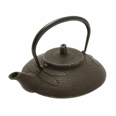 Iwachu Cast Iron Teapot, Tetsubin Gold and Brown Dragonfly 16 oz.