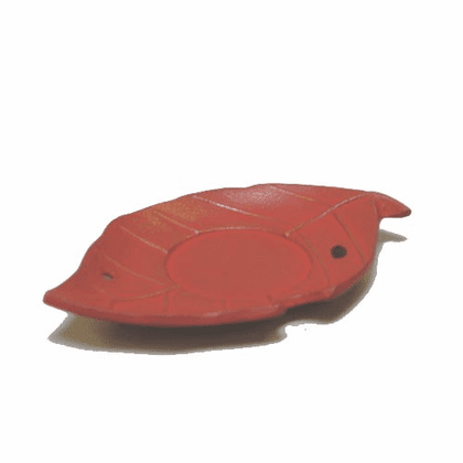 Iwachu Gold and Reddish Cast Iron Leaf Coaster