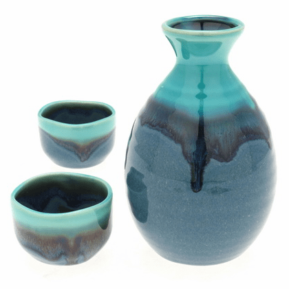 Jade Ocean Blue Sake Container &  <br>2 Cups Set