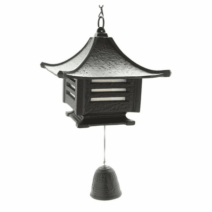 Japanese Cast Iron Black Shoji Lantern & Bell Furin Wind Chime