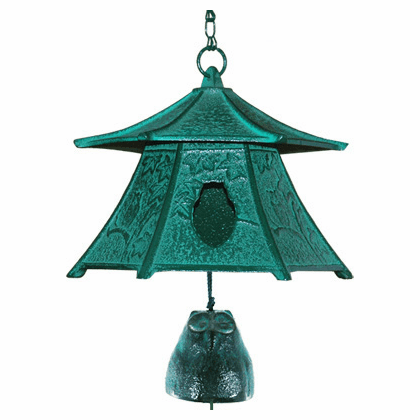 Japanese Cast Iron Patina Horned Owl Lantern & Bell Furin Wind Chime
