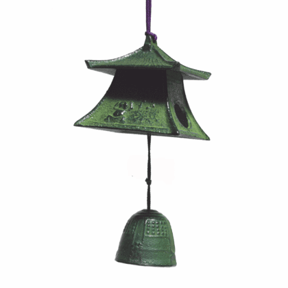 Japanese Cast Iron  Patina Lantern &  <br>Bell Furin Windchime