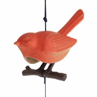 Japanese Cast Iron Red Songbird on a Branch Wind Chime