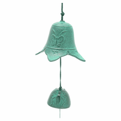 Japanese Cast Iron Wind Chime Patina Green Butterfly Temple