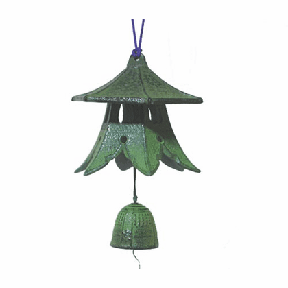 Japanese Cast Iron Wind Chime Patina Green Lantern