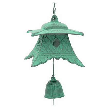 Japanese Cast Iron Wind Chime Patina Green Temple Lantern