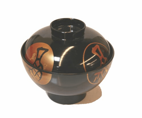 """Japanese characters Lacquerware  Soup Bowl with Lid, 4-1/2"""""""