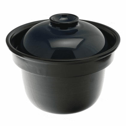 Japanese Earthenware Rice Cooker Black with Indigo Color Lid