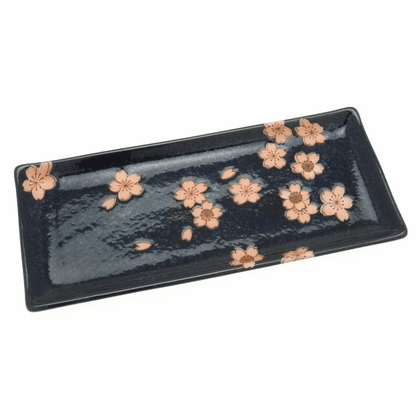 Japanese Moonlit Sakura Rectangular<br> Plate 11""