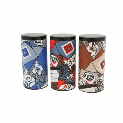 Kabuki Faces Tea Canisters, Set of Three, Holds 200 grams