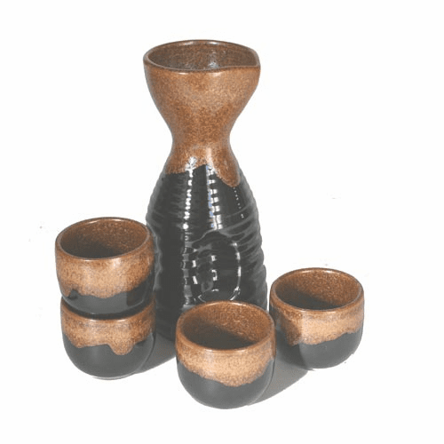 Kincha Tenmoku Sake Container and <br> 4 Cups Set