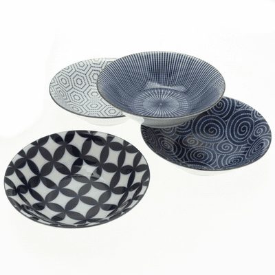 Kyo Modern Indigo Shallow Bowl  <br>Set 6-3/4""