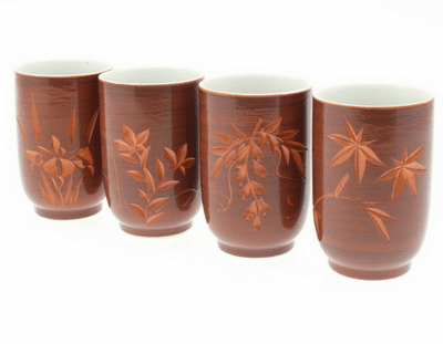 Kyoto Autumn Tea Cups Set for Four