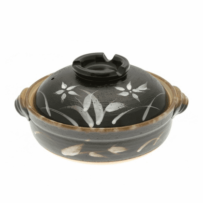 "Kyoto Floweri Donabe Japanese Hot <br>Pot 9-3/4"" & 10-3/4""<br> Made in Japan"