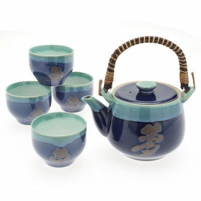 "Lapis/Jade ""Long Life""  Tea Set, 22 oz."