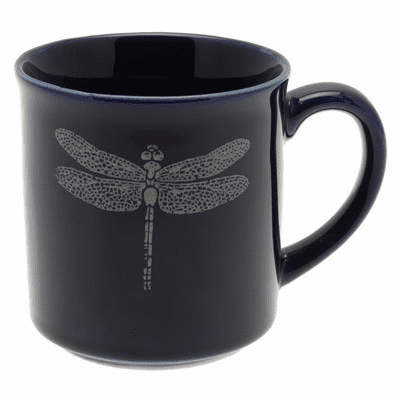 Lapis & White Dragonfly Mug, 10 oz.