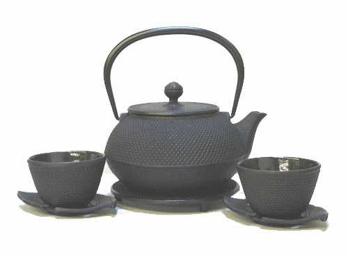 Large Capacity Black Hobnail Cast Iron Teapot 28oz. Set for Two