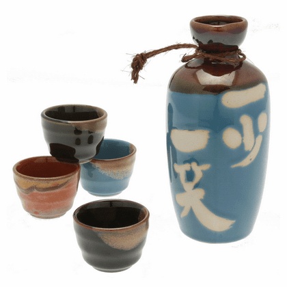 Laugh to Stay Young Sake Container & 4 Cups Set