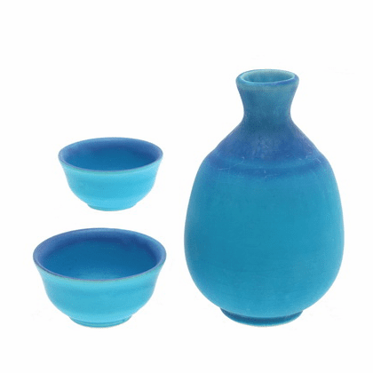 Matte Turquoise & Blue Sake Container & 2 Cups Set