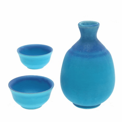 Matte Turquoise/Blue Sake Container & 2Cups Set