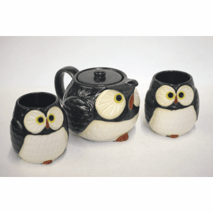 Midnight/Black & White Owl/Fukuro Tea Set