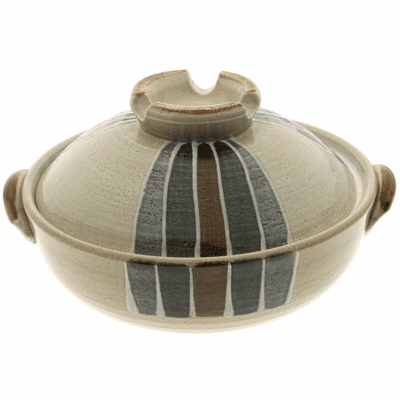 "Mingei Stripes Donabe/Japanese Hot<br> Pot, 9-3/4"" & 10-3/4"", <br>Made in Japan"