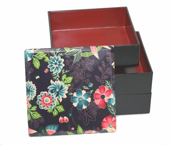 Morning Glory Flower Lacquerware  Stackable Jubako Box