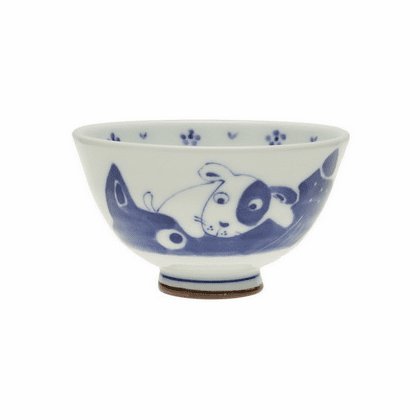 Mother Dog & Puppy Ceramic<br> Rice Bowl