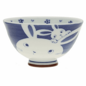 Mother Rabbit & Bunny Ceramic<br> Rice Bowl