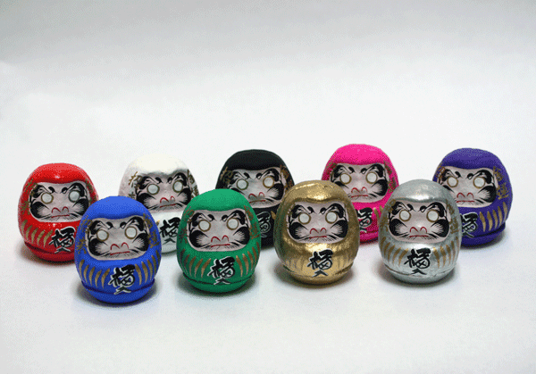 "Motivational Daruma Paper Mache Doll 2-1/4"" Tall"