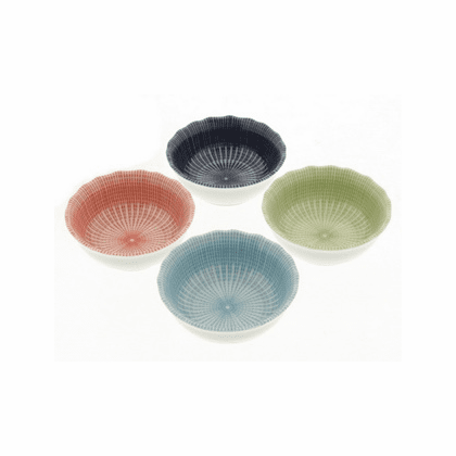 Multi-Spoke Ceramic Sauce Dishes Set, 3-5/8""