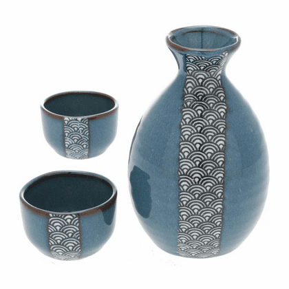 Namako Blue Wave Sake Container &  <br>2 Cups Set