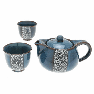Namako Blue Waves Ceramic Tea Set