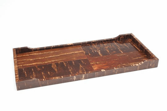 "Natural Cherry Bark Rectangular <br> Tray, 17-3/4"" x 8"""