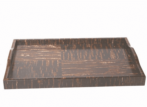 "Natural Cherry Bark Rectangular Tray,   <br>20"" x 12-3/8"""