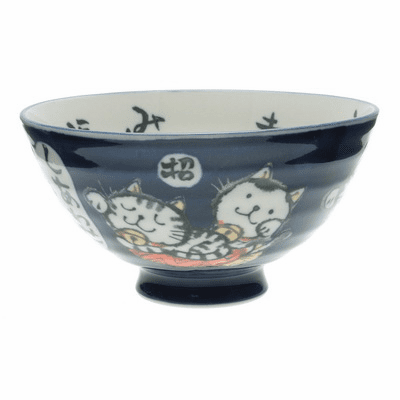 Navy Blue Happiness Cast Ceramic Rice Bowl