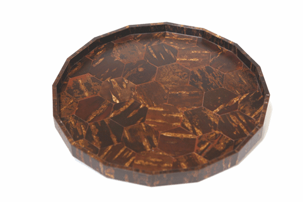 Near Circular Natural Cherry Bark  <br>Serving Tray, 12""