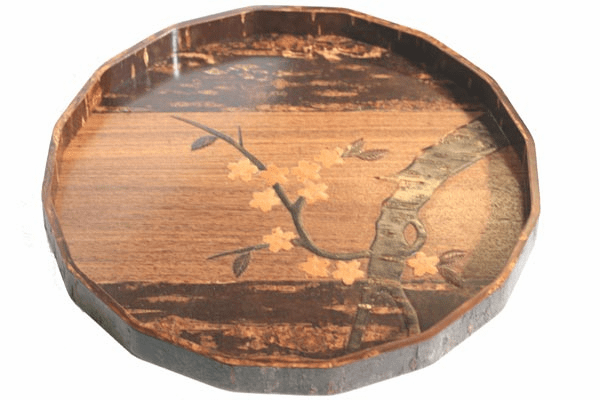 Near Circular Natural Cherry Bark <br> Serving Tray, 12""