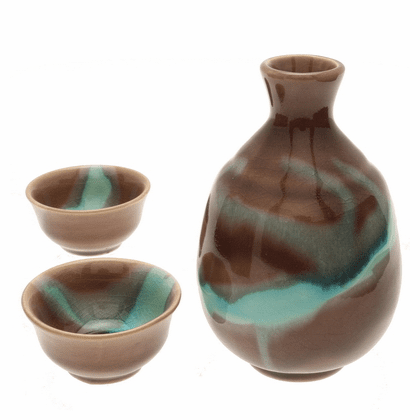 Northern Lights Sake<br> Container & 2 Cups Set