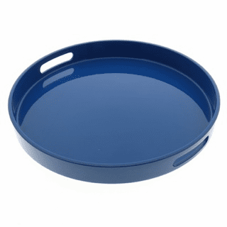 Ocean Blue Color Laquer Ware Plastic Serving Tray, 13-1/2""