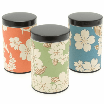 Pastel Cherry Blossom Tea Canisters,  Set of Three,  Holds 100 Grams