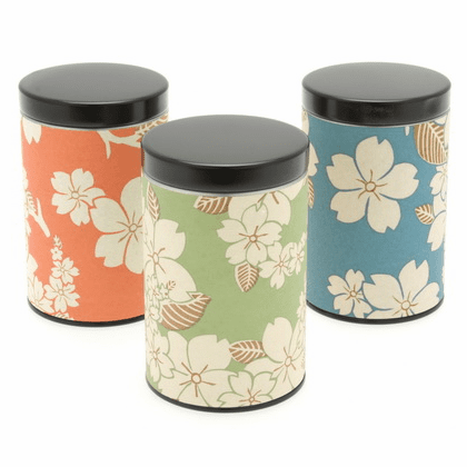 Pastel Cherry Blossom Tea Canisters,  <br>Set of Three,  Holds 100 Grams