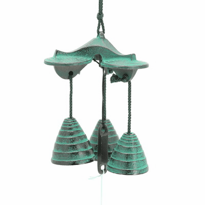 Patina Green 3 Bells Beehive Cast Iron Wind Chime