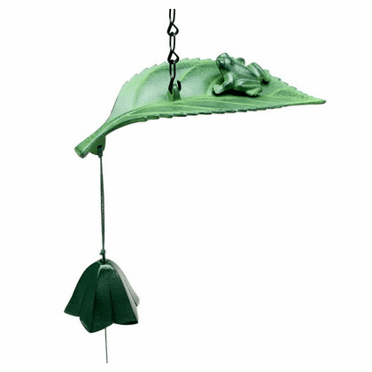 Patina Green Frog on a Leaf Japanese Cast Iron Windchime