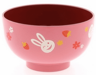 Pink Bunny Lacquerware Soup Bowl