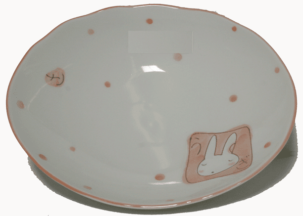 Pink Bunny Plate, 7-5/8 x 6-1/4""
