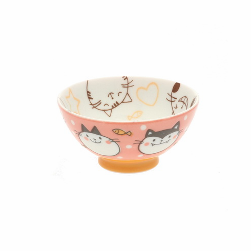 Pink Happy Kitties Ceramic <br>Rice Bowl