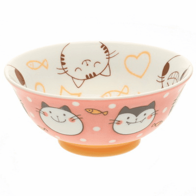 Pink Happy Kitties Mini Ramen Bowl
