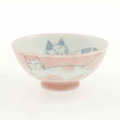 Pink Smiling Cat Ceramic Bowl